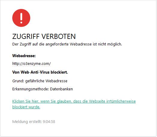 Virenwarnung o3enzyme.com
